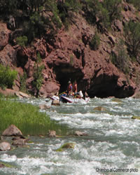 A couple rafting the Lodore Canyon River